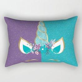 Purple Teal Gold Unicorn Rectangular Pillow