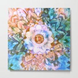 Painted Picturesque Flower Ocean Blue Metal Print