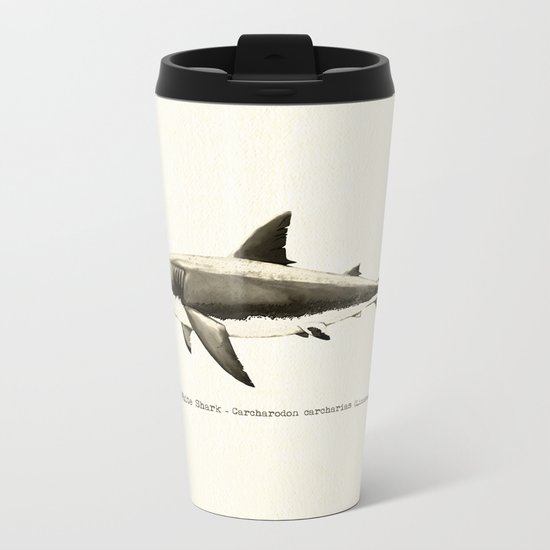 """Carcharodon carcharias II"" by Amber Marine  ~ Great White Shark Illustration, (c) 2015 Metal Travel Mug"