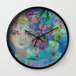 Watercolor flower girl portrait in blue Wall Clock
