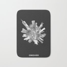 Chicago, Illinois Black and White Skyround / Skyline Watercolor Painting (Inverted Version) Bath Mat
