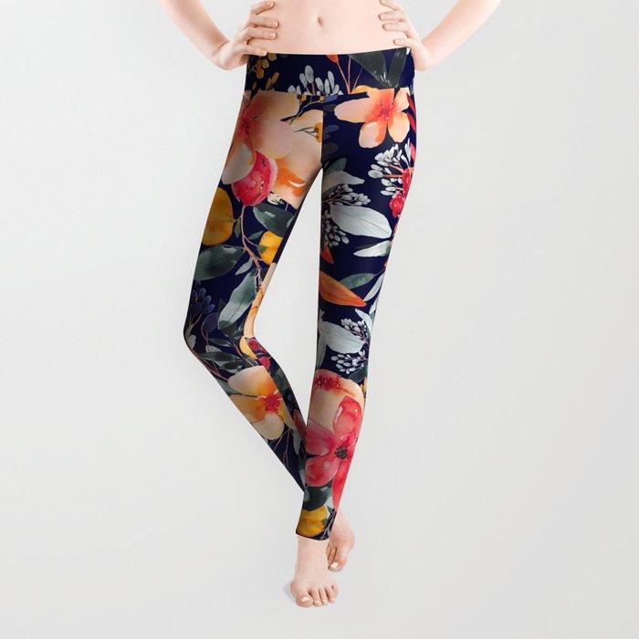 Navy Floral Leggings