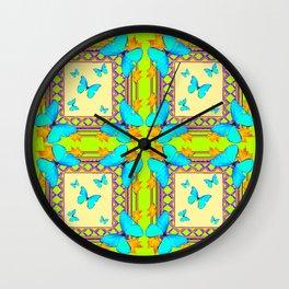 Southwestern  Lime & Turquoise Butterflies Gold Patterns Art Wall Clock
