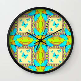 Southwestern  Lime & Turquoise Butterflies Gold Patterns Art Wall Clock