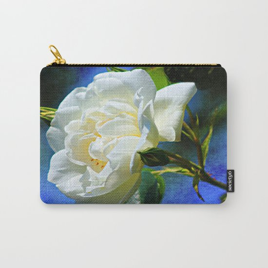 Creamy White Rose and Buds Carry-All Pouch