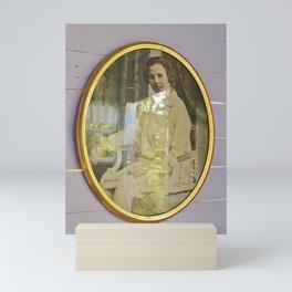 Lady portrait in golden frames Mini Art Print