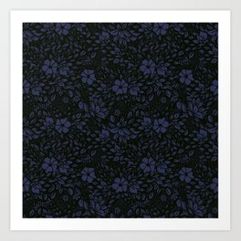 Abstract - kind of damasc french style wrapping paper - Deep Blue and blak Art Print