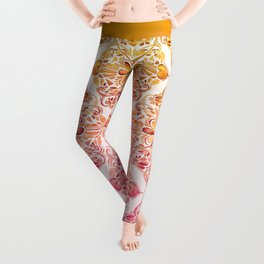 Sunset Art Nouveau Watercolor Doodle Leggings
