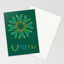 United Mandala with UNITED (s) - Green Stationery Cards