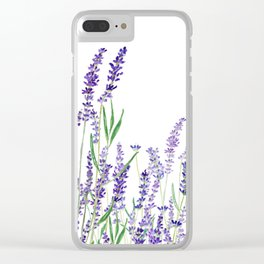 lavender watercolor horizontal Clear iPhone Case