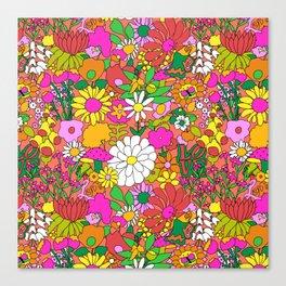 60's Groovy Garden in Neon Peach Coral Canvas Print