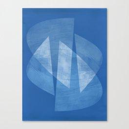 Blue & White Geometric Mid Century Modern Abstract Canvas Print