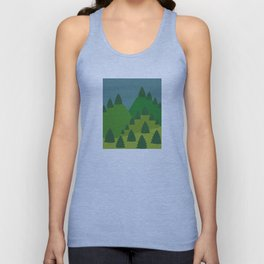 Blue Sky over Green Summer Mountain and Forest Unisex Tank Top