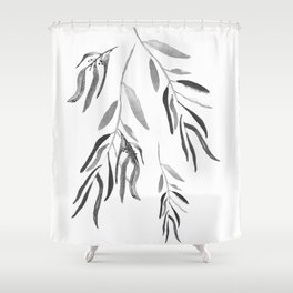 Eucalyptus Branches II Black And White Shower Curtain