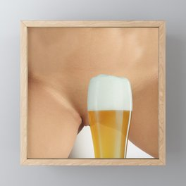 Beer and Naked Woman Framed Mini Art Print