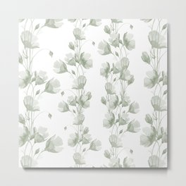 Vintage green white elegant floral illustration Metal Print