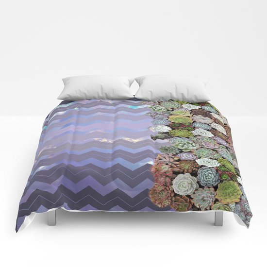 Lavender Opal & Succulent Chevron  Comforters