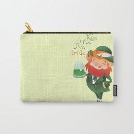 Kiss Me I'm Irish with cute chibi cartoon Leprechaun Carry-All Pouch