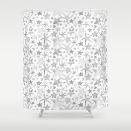 Grey Starfish Pattern - Light Shower Curtain