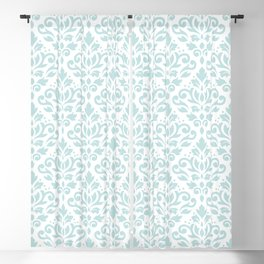 Scroll Damask Lg Pattern Duck Egg Blue on White Blackout Curtain