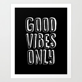 Good Vibes Only black-white typography poster black and white design bedroom wall home decor canvas Art Print