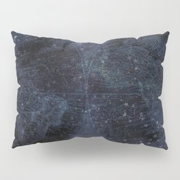 Antique World Star Map Navy Blue Pillow Sham