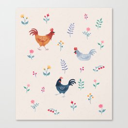 Little Hens (ivory) Canvas Print