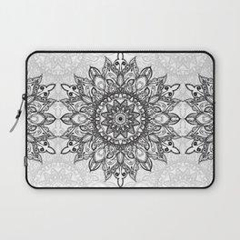 Black Mandala over Grayscale Laptop Sleeve