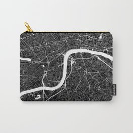 London Black And White Map Carry-All Pouch