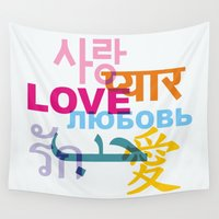 korean Wall Tapestries featuring L O V E by Stop::mashina ~Runes