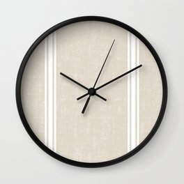 Vintage Country French Grainsack White Stripes Against Bone Color Background Wall Clock
