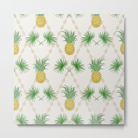 Exotic tropical seamless pattern with palm branches and pineapples . Metal Print