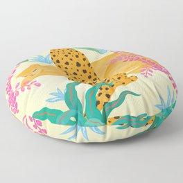 Panthers in Magical Garden Floor Pillow
