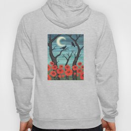 crows, fireflies, and poppies in the moonlight Hoody