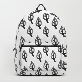 Black white hand painted watercolor leaves floral Backpack