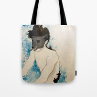 beast Tote Bags featuring Beast by Cat Rocketship