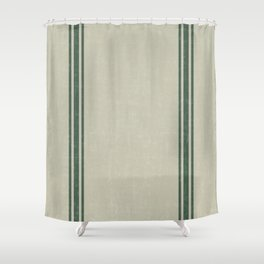 Vintage Country French Grainsack Green Stripes Linen Color Background Shower Curtain