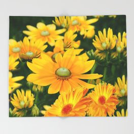 GOLDEN YELLOW  FLOWERS  GARDEN Throw Blanket