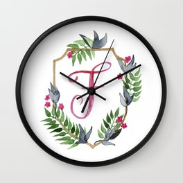 Jungle Gold Monogram Crest F Wall Clock
