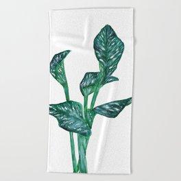 green calla lily Beach Towel