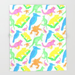Beautiful Bright Australian Native Animals Throw Blanket