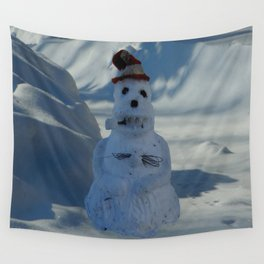 Funny Snowman Wall Tapestry