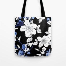 Black White Blue Floral Tote Bag