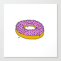 doughnut Canvas Prints featuring Doughnut by PSHAWWHO
