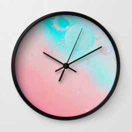 Oil drops in water. Defocused abstract psychedelic pattern image pastel colored. Abstract background with colorful gradient colors. Wall Clock