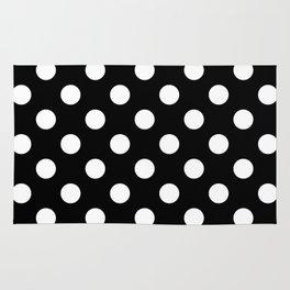 Black and Polka White Dots Rug