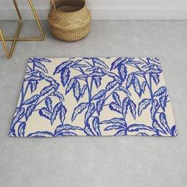 Minimal Blue Plant Rug