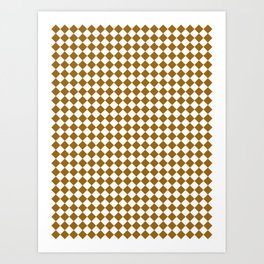 Small Diamonds - White and Golden Brown Art Print