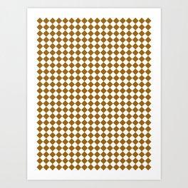 Small Diamonds - White and Golden Brown Art Print