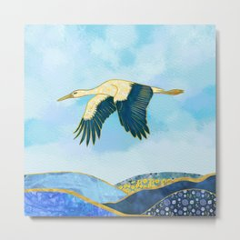Majestic Stork Flying over Mountains - Spring Theme Metal Print